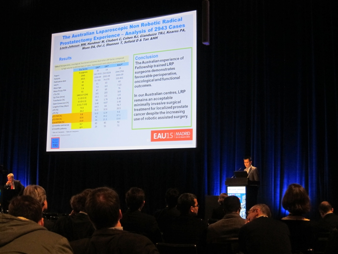 Dr Louie-Johnsun presents at the European Association of Urology (EAU) Meeting, Madrid 2015